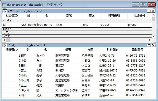 DataWindowの内容