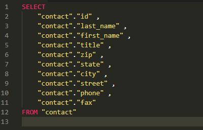 整形済SQL文