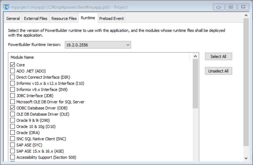 Runtime設定画面