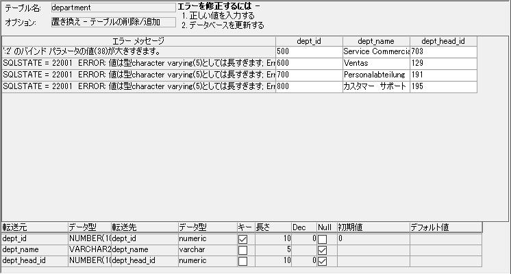 DBプロファイル選択